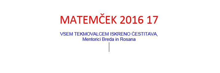 MATEMČEK 2016 17
